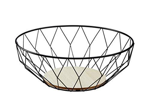Meinposten. Runder Korb Dekokorb Aufbewahrungskorb Metall Holz Schale Körbe rund schwarz (Großer Korb, Ø 34 cm)