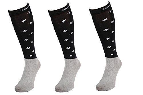 Comodo 3 Paar Bequeme Dünne REIT-Socken | Mikrofaser REIT-Strümpfe | Knie-Strümpfe Funktions-Socken | Socken 39-42 Black/White Stars