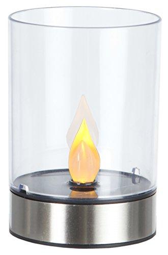 Amber Windlicht (LED-Solar-Windlicht Edelstahl, ca. 13 x 9 cm1 amber LED, mit Solarpanel, incl. Akku, Outdoor)