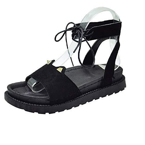 Sandales Femmes Plates Pas Cher,LANSKIRT Sandales Creuses à Lacets pour Femmes Bandage Imperméable Plat Chaussures à Bout Ouvert