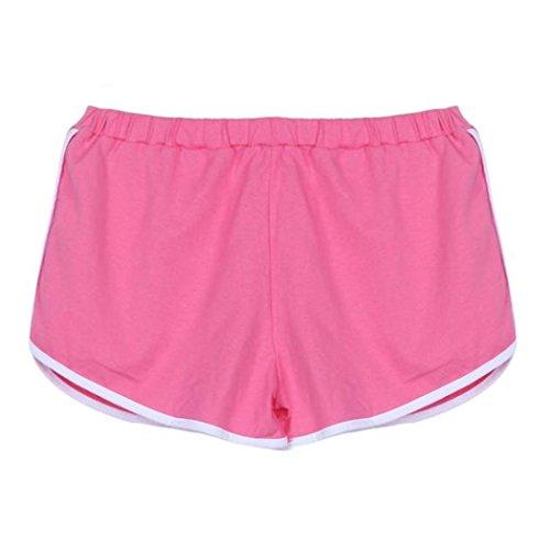 Italily-Nuova estate delle donne pantaloni sportivi Shorts Cintura Pantaloni a sigaretta Yoga (Size:L, Rosa)