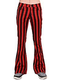 Mens 60s 70s Retro Vintage New Red Black Striped Bell Bottom Flares Sizes 30 32 34 36 38