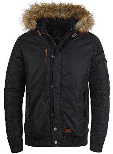 BLEND Egon Herren Winterjacke Jacke mit Kapuze und abnehmbaren Kunstfellkragenaus hcohwertiger Materialqualität, Größe:M, Farbe:Black (70155)