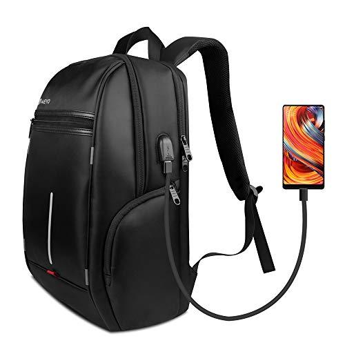 WEYO Herren Rucksäcke, Wasserdicht Laptop Rucksack Schulrucksack Backpack, 12-17 Zoll Multifunktions Rucksack mit USB-Ladeanschluss für Business Arbeit Reisen Wandern (Schwarz)