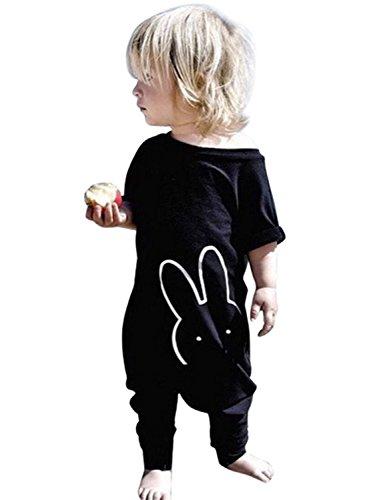 Onesie Baby IHRKleid® Baby Walk Overall Bodysuit Strampler (90, 12-24 Monat, Schwarz)