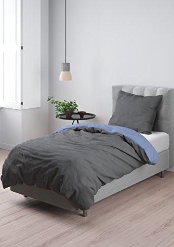 Aminata – Bettwäsche 135x200 cm Baumwolle + Reißverschluss zum Wenden unifarben Hellblau & Hellgrau Wendebettwäsche einfarbig Blau Grau 2-teiliges Bettwäscheset Ganzjahres Bettbezug Normalgröße