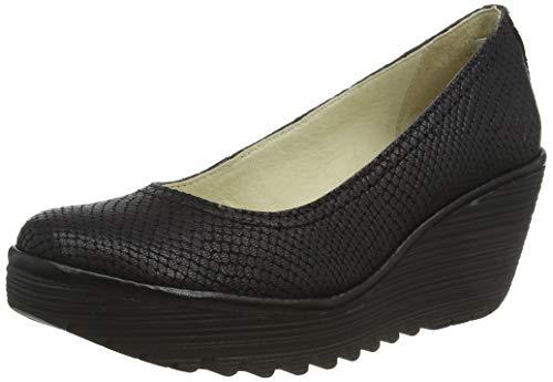FLY London Yoni, Zapatos de tacón con Punta Cerrada para Mujer, Negro Black 080, 38 EU