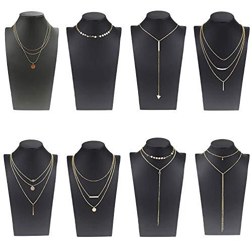 Coolcoco Moda de Metal de oro Choker Collar Conjunto con Colgante Para las Mujeres y las Niñas (8 Piezas/Set)