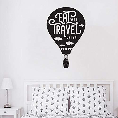 yiyiyaya Wandtattoo Kreative Heißluftballon Küche Wandaufkleber Zitat Gut Essen Reisen Oft Vinyl Interior Home Decor Poster 27 * 42 cm