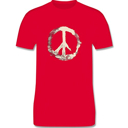 Statement Shirts - Frieden - Peacesymbol weiss - Herren Premium T-Shirt Rot