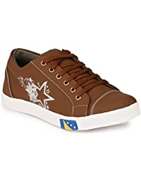 Lavista Men's Brown Synthetic Leather Casual Shoe.