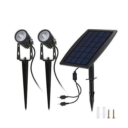 Tomshine 2W Led Solarleuchten Solarlicht solarbeleuchtung Solarpanel mit Lichtsensor, IP65 Wasserdicht,270 Grad Einstellbar,130LM für Outdoor wie Garten, Hof(Warmweiß)