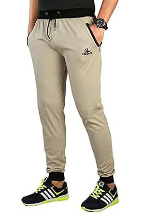 Finger's Men's Cotton Ribbed Track Pants With Zipper Pockets (26, Biscuit-Black)