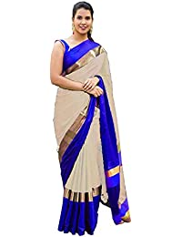 Devpriya Fashion Women's Offwhite And Blue Colour Cotton Silk Sarees With Blouse Piece