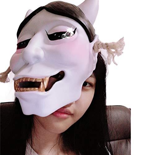 Weihnachtsgeschenk Kostüm Ghost - WLXW Halloween-Harzmaske, Fox Ghost Face Masquerade-Maske Buddhismus-Masken-Handwerks-Sammlungs-Schmuck, Beängstigende Ausrüstung, Gesichtsschutz