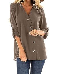157c3cd24da8d9 ZIYOU Damen Hemden Einfarbig Slim fit Langarm Shirts Frauen Beiläufige Mode  V-Ausschnitts Lange Hülsen