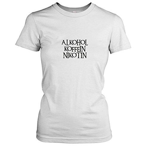TEXLAB - Alkohol. Koffein. Nikotin - Damen T-Shirt, Größe XL, (Süchtig Kostüm Koffein)