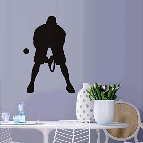 Wuyyii 58X86 Cm Spielen Tennis Ball Wandaufkleber Spieler Silhouette Gym Wandtattoos Abnehmbare Vinyl Wandbilder Für Kinderzimmer 39X59Cm