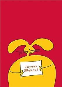 Carte de voeux: Carte de Pâques avec un drole, gros lapin de Pâques: Joyeux Pâques