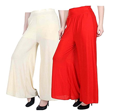 ZENTILIX Stretchable Designer Plain Casual Wear Palazzo Pant Red & White For...