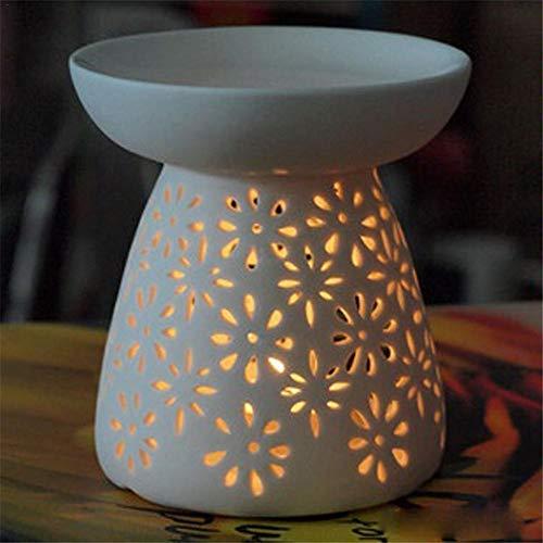 fllyingu Keramischer Duft-Diffusor des aromatischen Öls Aromatherapieofen Kerzen-Ofen-Teelicht-Halter, weiß glasiert , Für Hauptdüfte und Geschenkgeben -