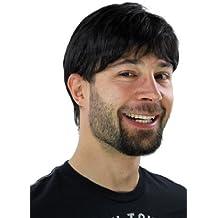 WIG ME UP ® - Peluca de hombre decidido, con raya y de color negro