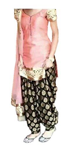 shivam Embroidery women\'s peach Cotton Silk Patiala Salwar suit set(peach_patiala_peach_FreeSize)