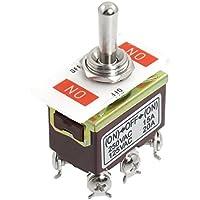 SODIAL(R) AC 250V / 15A 125V / 20A ENCENDIDO / APAGADO / ENCENDIDO Interruptor de palanca momentaneo DPDT de 3 posiciones