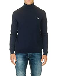 PULL FRED PERRY COL ROULE MERINOS bleu