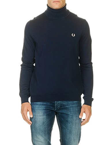 Fred Perry Men's Navy Blue Merino Roll Neck Jumper L (Wool Sweater Roll Neck)