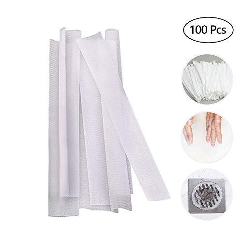 Aolvo 100 Pack Drain Protector Haarfänger, Waschbecken Sieb Mesh Tasche Einweg Waschbecken Drain Sieb Mesh Müllsack Müll Bagfor Küche und Bad, Fit für Alle Größen von Waschbecken - 100-mesh-sieb