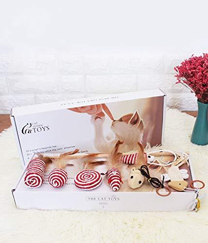 Schöne Sammlung (Alihoo Katzenspielzeug Set - Interaktiv Spielzeugset für Spaß, Federn - Katzenangel - Stoffmäuse, Sammlung in schöner Geschenkbox (7 Stück))