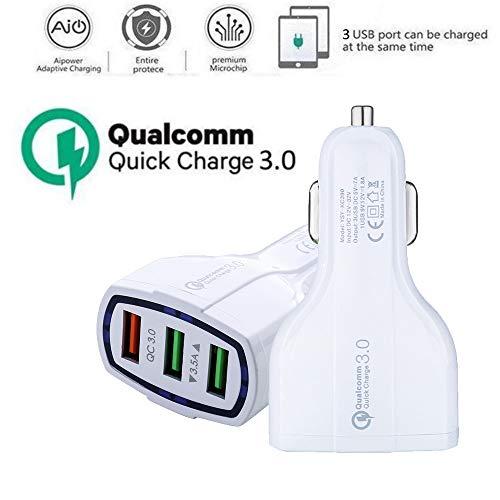 OIKAY PowerDrive 3 Auto Ladegerät 12~24V / 3~3.5A 3-Port USB Kfz Ladegerät Power IQ für iPhone 8/8Plus/X,XS iPad Air/Mini, Samsung Galaxy/Note, Nexus, HTC, LG, Tablets, Bluetooth Geräten. (Weiß) Lg-auto-adapter