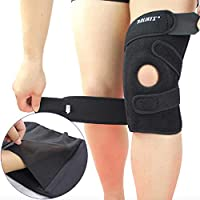 AOLIKES Knee Brace for For Arthritis, ACL, Meniscus, Running, Basketball. Neoprene Non-Bulky 4 Springs & 4 Velcro belts, Best Open Patella Knee Protector Wrap Relieves Pain Symptoms