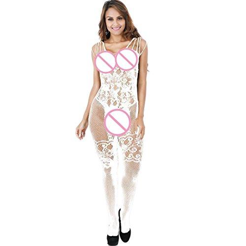 Sexy Dessous für Frauen für Sex ouvert mingfa floraler Spitze Kleid Unterwäsche Bodys Strapse Strümpfe Babydoll Nachtwäsche Suit for:S-XL,inside 70KG weiß -