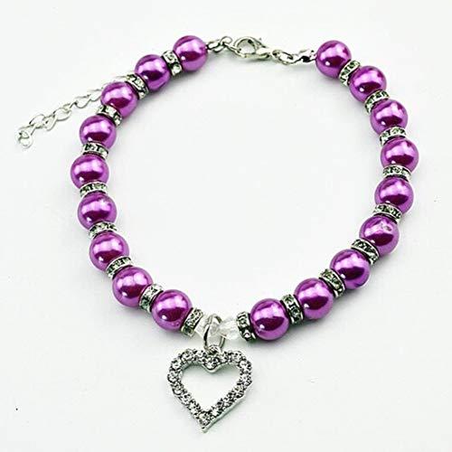 r Halskette Faux Haustier Hund Welpen Kragen Halskette Cat Piggy Perlen Halskette ()
