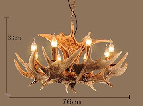Hines vintage lampadario di corno di cervo resina 8 luci rurali