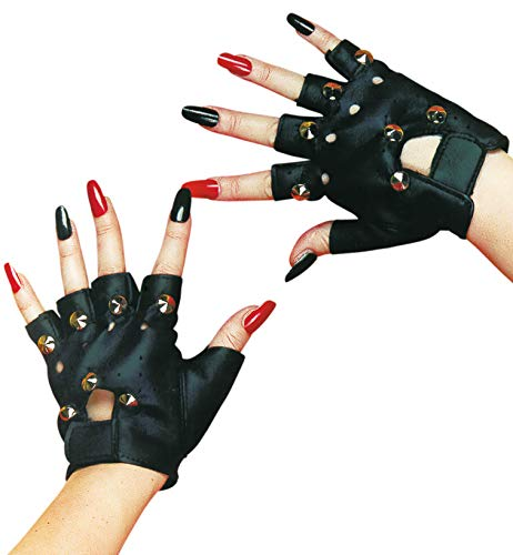 Punk Handschuhe schwarz - Farmer Hut Kostüm
