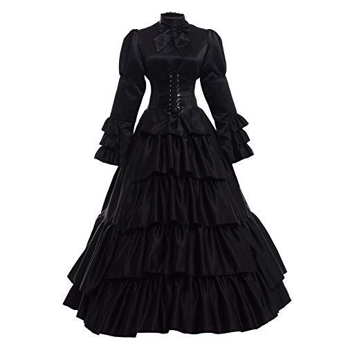 Outfit Viktorianischen Kostüm Damen Dienstmädchen - GRACEART Frauen mittelalterlichen viktorianischen Kostüm Vintage Rüschen Fancy Dress mit Krinoline und Gürtel (Schwarz, XX-Large)