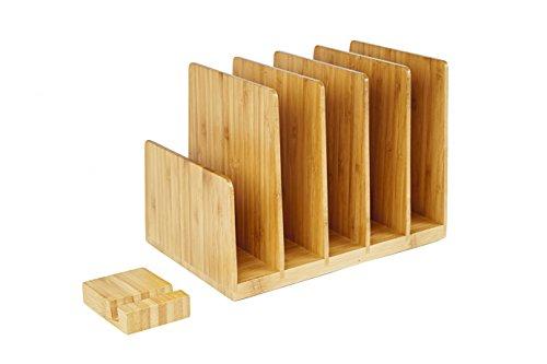 Kenley Bandeja de Correo Porta Documentos - Organizador de Escritorio en Madera de Bambú - Clasificador para Archivadores Archivos Correspondencia Papeles Revistas Sobres width=