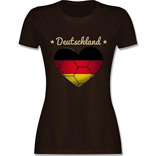 Handball WM 2019 - Handballherz Deutschland - XXL - Braun - L191 - Damen Tshirt und Frauen T-Shirt