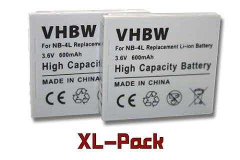 2 x Li-Ion Akku 600mAh (3.6V) passend für Canon Powershot, Ixus und Digital Ixus, z.B. 50, 115HS, 130, i7, SD450, u.a. Ersetzt den Akkutypen: NB-4L.