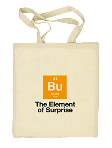 Shirtstreet24, Halloween - The Element Of Surprise, Nerd Natur Stoffbeutel Jute Tasche (ONE SIZE) Natur