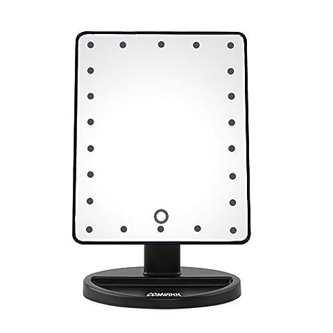 comwinn Next Generation Make-up Spiegel mit Lichter, 22 hellen LEDs, 10 cm großen Bildschirm, Touch dimmbar mit Memory-Funktion, abnehmbarer 10 x Vergrößerung Spot, 360 Grad freie Rotation, Erleuchtet beleuchtet Vanity Kosmetikspiegel mit Ständer und, für Tischplatte, Badezimmer, Schlafzimmer, Reisen,, Rasieren, Dressing, schwarz, 22LED