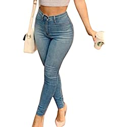 Mujeres Cintura Cadera Push Up Leggings Jeggings Pantalones Azul M