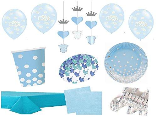 Partydekoset Babyparty Baby Shower Junge blau für 6 Personen 44teilig Pullerparty Baby Geburt Babyparty Komplettset Tischdeko Party Geschirr