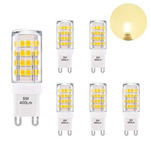 Petite Lampe Ampoule LED G9 GU9 5W 400Lm Economique Remplace Ampoule Halogene 40W Éclairage Blanc Chaud AC220~240V pour Luminaire Lustre Lot de 6 de Enuotek