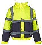 Fast Fashion - 2 Deux Tons Hi Viz Bombardier Manteau Réfléchissante Veste Vêtements De Travail Rembourré Imperméable - Mens