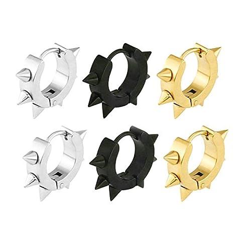 Aooaz 3 Paires Boucles d'oreilles Acier Inoxydable Spikes Boucles d'Oreilles Pour Homme Femme Or Argenté Noir