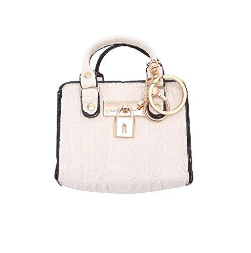 Dairyshop Donne Ragazze Modificare il sacchetto di supporto dell'anello chiave della moneta della borsa della chiusura lampo (marrone) bianco